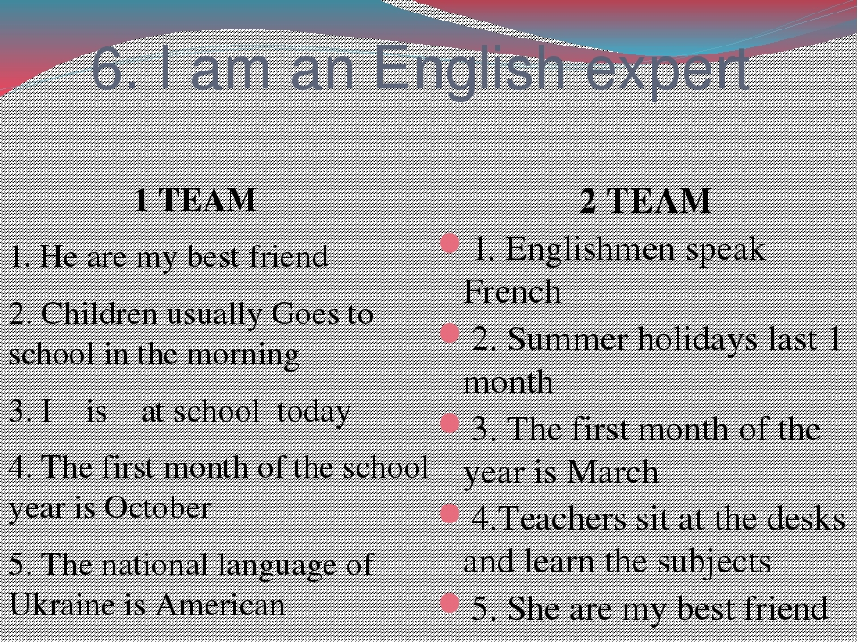 6. I am an English expert 1 TEAM 1. He are my best friend 2. Children usually Goes to school in the morning 3. I is at school today 4. The first mo...