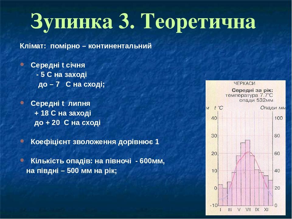 Зупинка 3. Теоретична Клімат: помірно – континентальний Середні t січня - 5 С на заході до – 7 С на сході; Середні t липня + 18 С на заході до + 20...