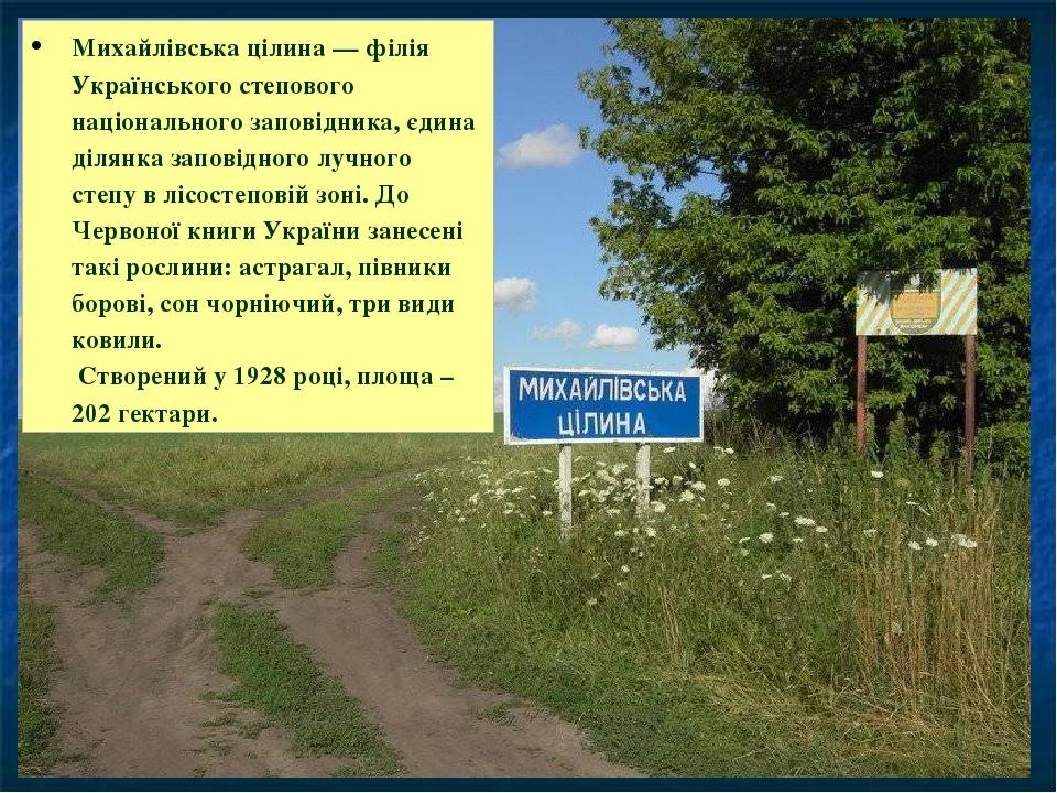 Михайлівська цілина— філія Українського степового національного заповідника, єдина ділянка заповідного лучного степу в лісостеповій зоні. До Черво...