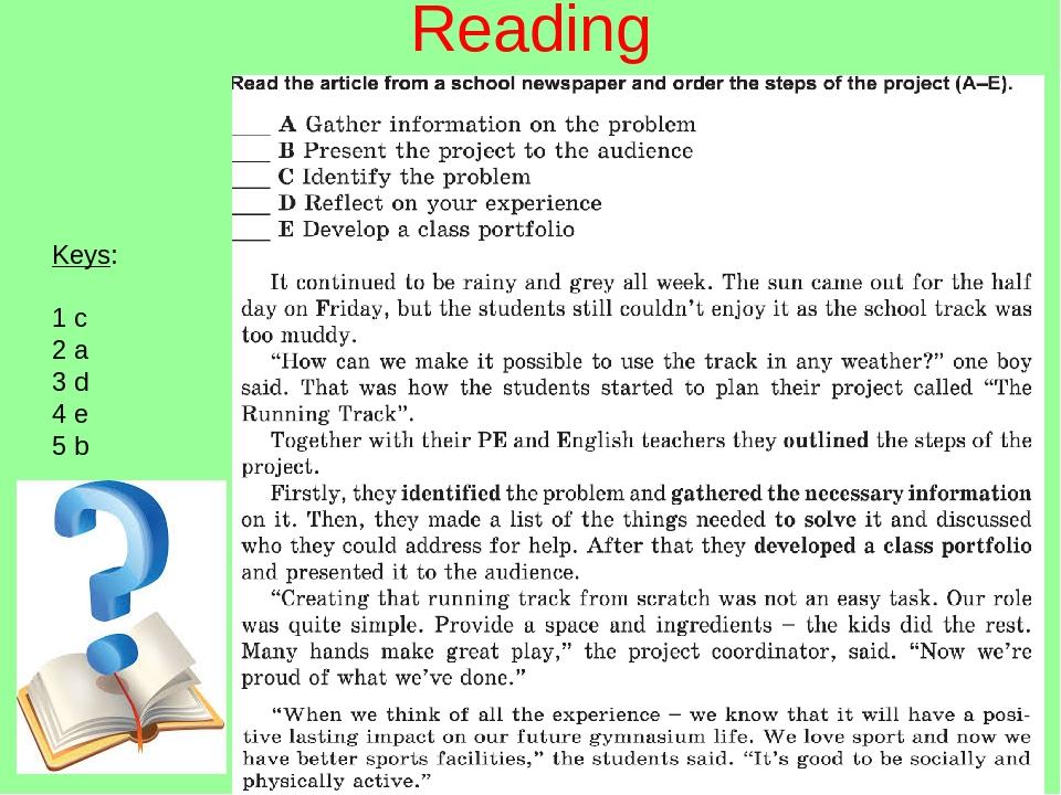 Reading Keys: 1 c 2 a 3 d 4 e 5 b