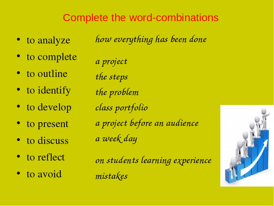 Complete the word-combinations to analyze to complete to outline to identify to develop to present to discuss to reflect to avoid how everything ha...