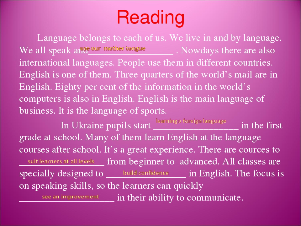 Reading Language belongs to each of us. We live in and by language. We all speak and_________________ . Nowdays there are also international langua...