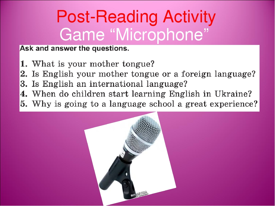"Post-Reading Activity Game ""Microphone"""