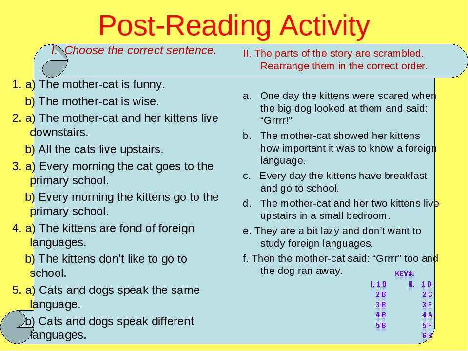 Post-Reading Activity I. Choose the correct sentence. 1. a) The mother-cat is funny. b) The mother-cat is wise. 2. a) The mother-cat and her kitten...