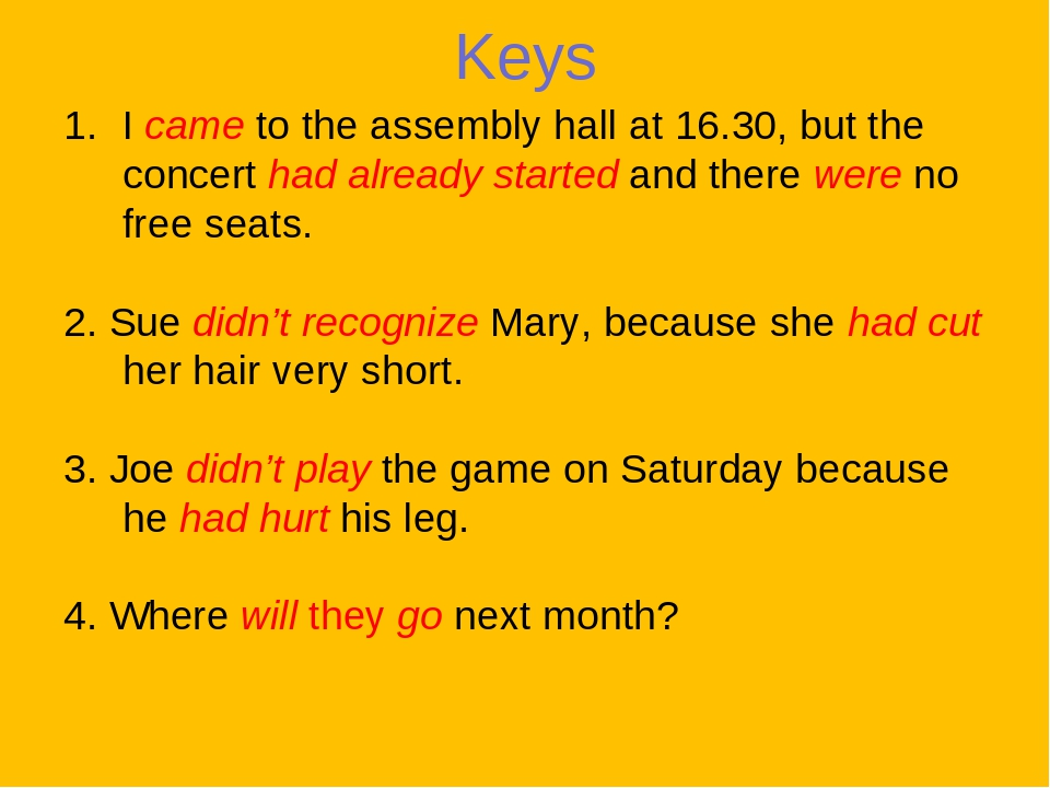 Keys I came to the assembly hall at 16.30, but the concert had already started and there were no free seats. 2. Sue didn't recognize Mary, because ...