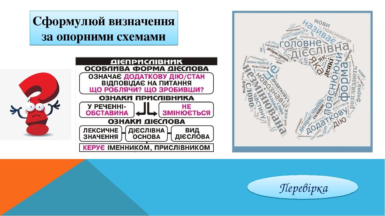 Сформулюй визначення за опорними схемами Перевірка