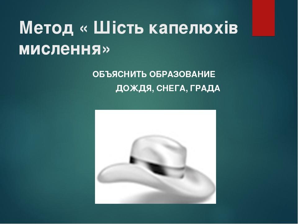 Метод « Шість капелюхів мислення» ОБЪЯСНИТЬ ОБРАЗОВАНИЕ ДОЖДЯ, СНЕГА, ГРАДА