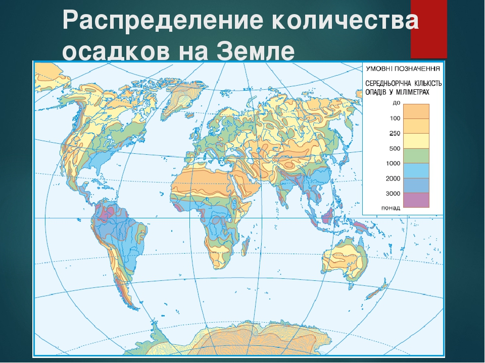 Распределение количества осадков на Земле