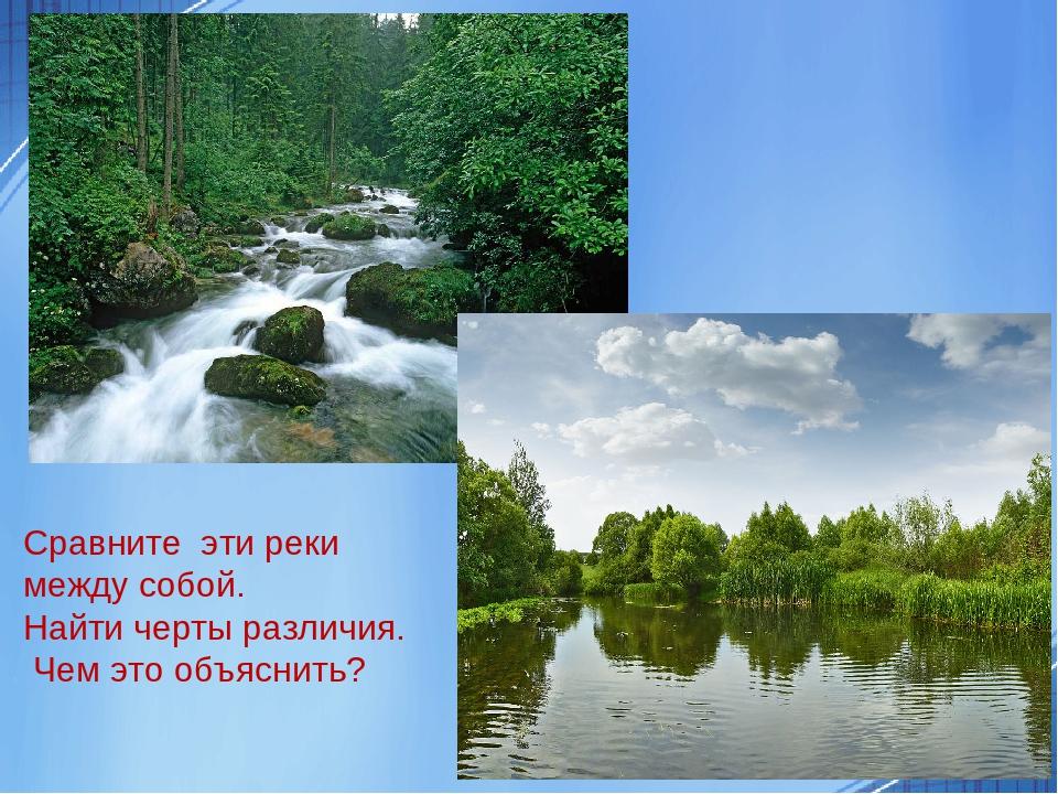 Сравните эти реки между собой. Найти черты различия. Чем это объяснить?