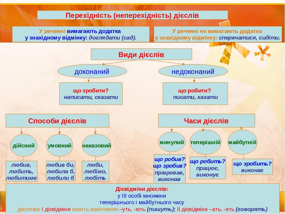 Перехідність (неперехідність) дієслів У реченні вимагають додатка у знахідному відмінку: доглядати (сад). У реченні не вимагають додатка у знахідно...