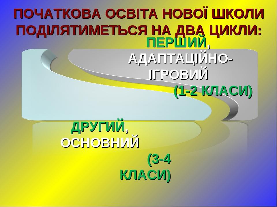 ПОЧАТКОВА ОСВІТА НОВОЇ ШКОЛИ ПОДІЛЯТИМЕТЬСЯ НА ДВА ЦИКЛИ: ДРУГИЙ, ОСНОВНИЙ (3-4 КЛАСИ)