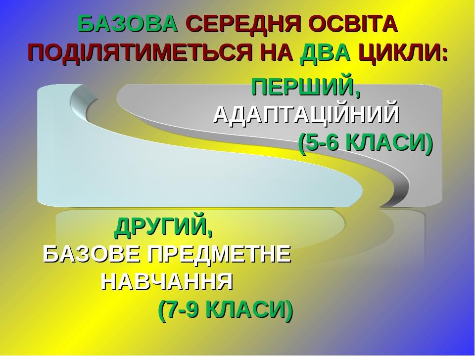 БАЗОВА СЕРЕДНЯ ОСВІТА ПОДІЛЯТИМЕТЬСЯ НА ДВА ЦИКЛИ: ДРУГИЙ, БАЗОВЕ ПРЕДМЕТНЕ НАВЧАННЯ (7-9 КЛАСИ)