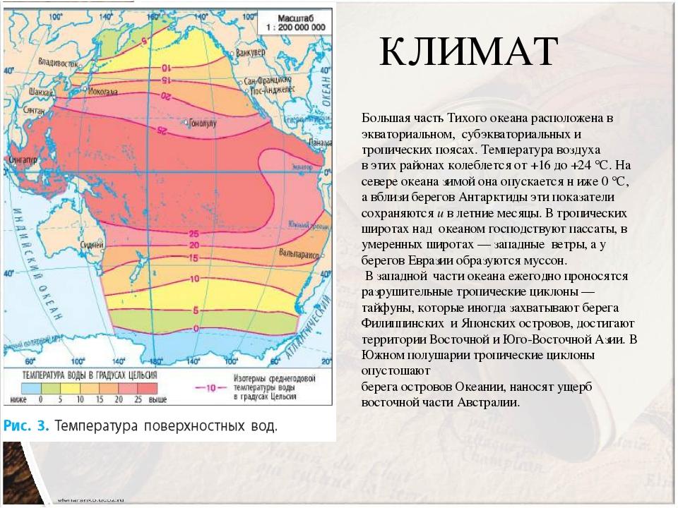 КЛИМАТ Большая часть Тихого океана расположена в экваториальном, субэкваториальных и тропических поясах. Температура воздуха в этих районах колебле...