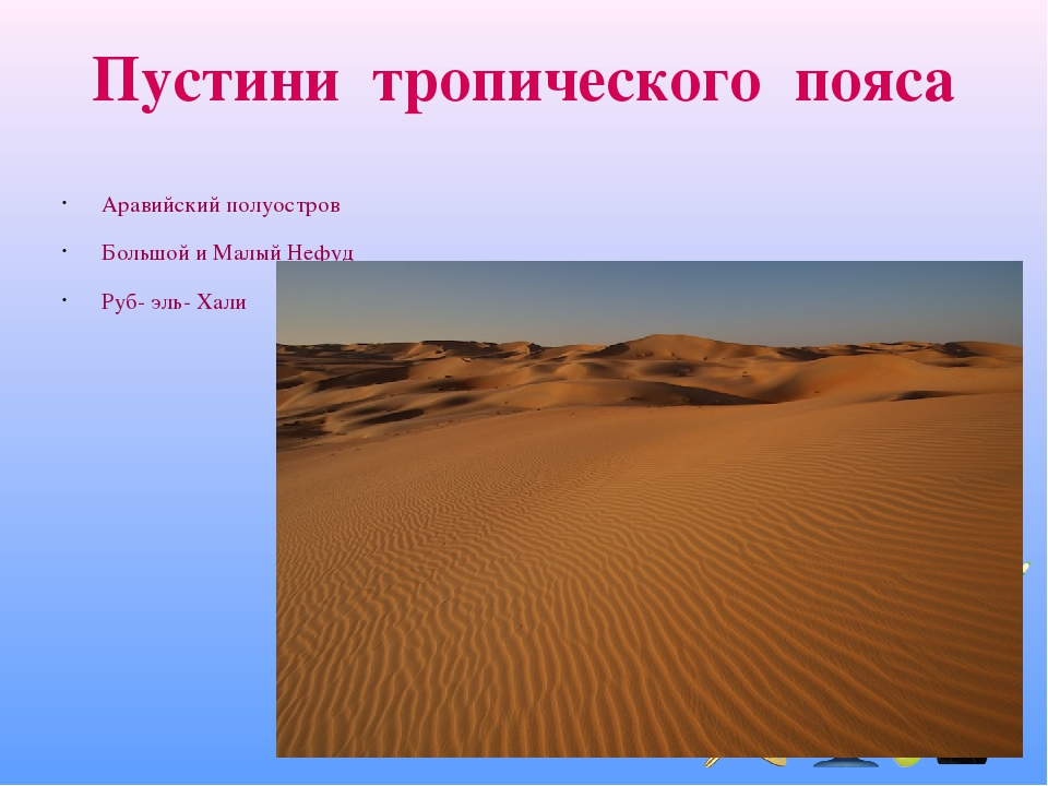Пустини тропического пояса Аравийский полуостров Большой и Малый Нефуд Руб- эль- Хали