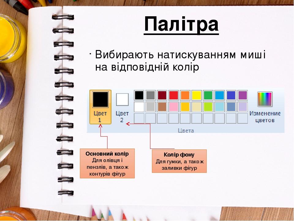 Палітра Вибирають натискуванням миші на відповідній колір Основний колір Для олівця і пензлів, а також контурів фігур Колір фону Для гумки, а також...