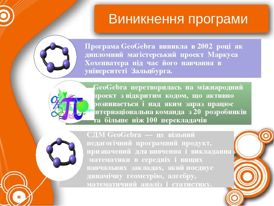 Виникнення програми Програма GeoGebra виникла в 2002 році як дипломний магістерський проект Маркуса Хохенватера під час його навчання в університет...