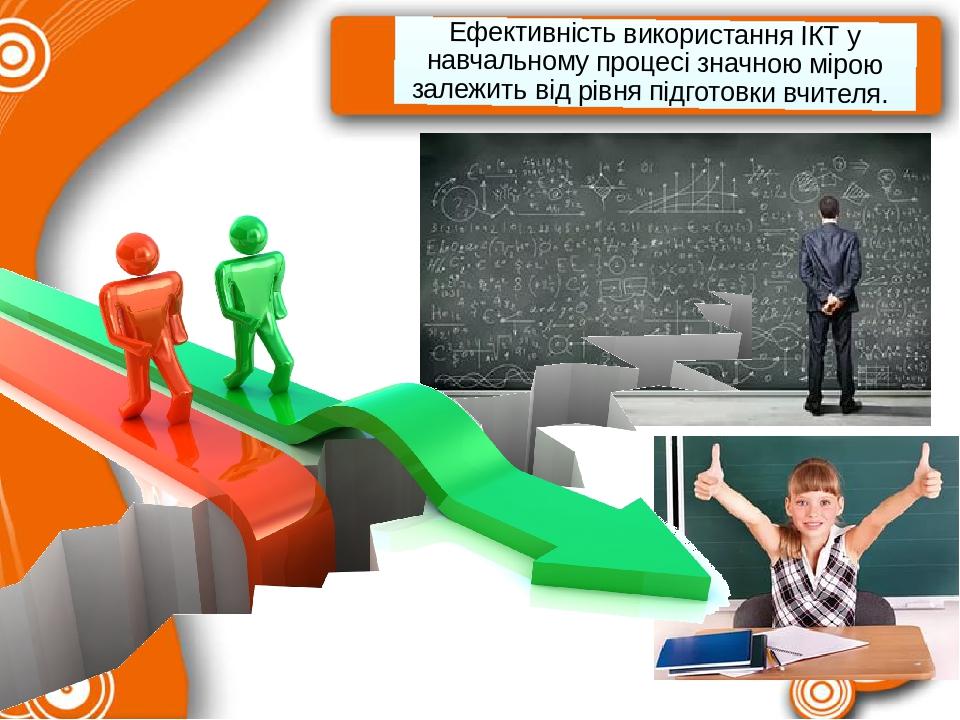 Ефективність використання ІКТ у навчальному процесі значною мірою залежить від рівня підготовки вчителя.