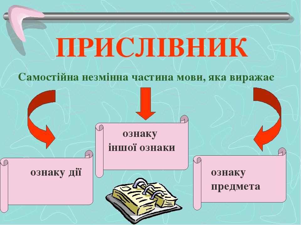 ПРИСЛІВНИК Самостійна незмінна частина мови, яка виражає ознаку іншої ознаки ознаку дії ознаку предмета