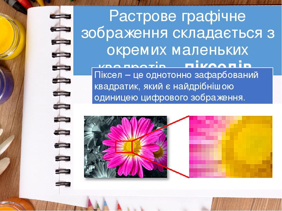 Растрове графічне зображення складається з окремих маленьких квадратів – пікселів. Піксел – це однотонно зафарбований квадратик, який є найдрібнішо...