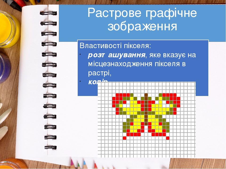 Растрове графічне зображення Властивості пікселя: розташування, яке вказує на місцезнаходження пікселя в растрі, колір.