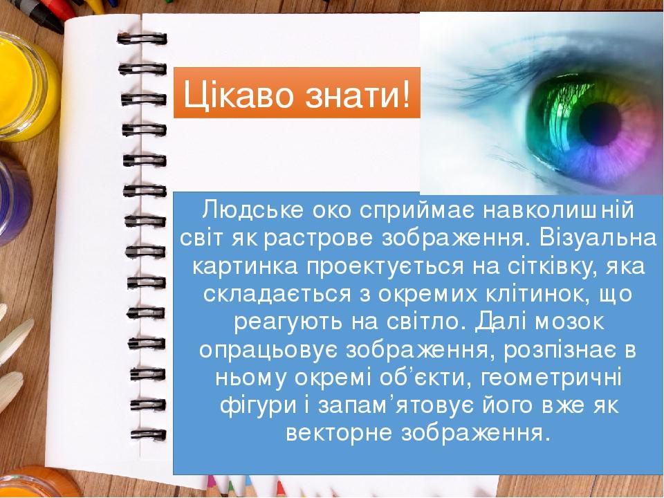 Людське око сприймає навколишній світ як растрове зображення. Візуальна картинка проектується на сітківку, яка складається з окремих клітинок, що р...