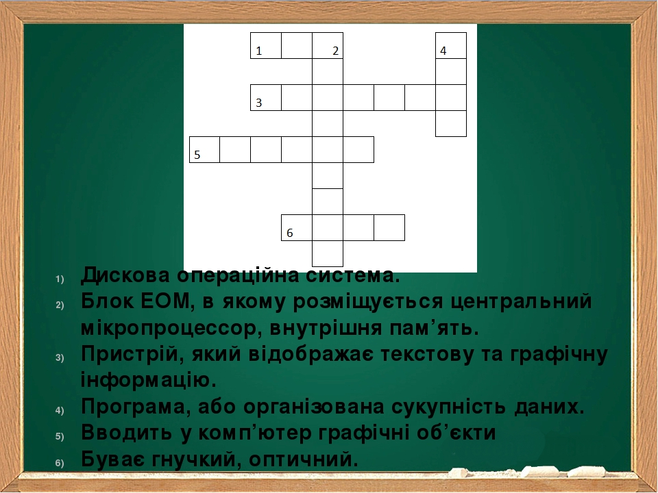 Дискова операційна система. Блок ЕОМ, в якому розміщується центральний мікропроцессор, внутрішня пам'ять. Пристрій, який відображає текстову та гра...