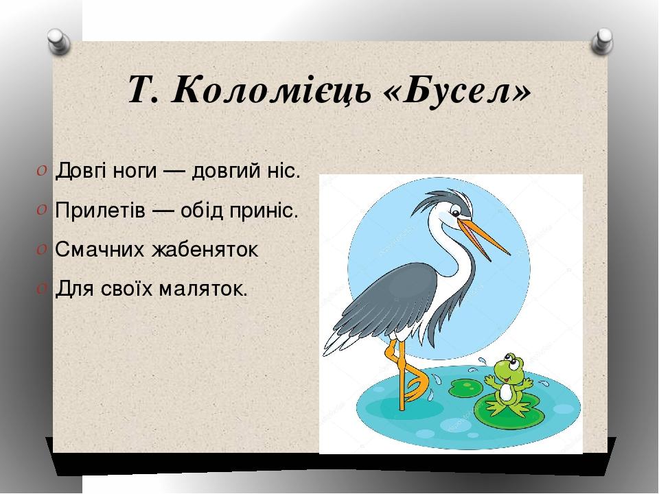 Т. Коломієць «Бусел» Довгі ноги — довгий ніс. Прилетів — обід приніс. Смачних жабеняток Для своїх маляток.