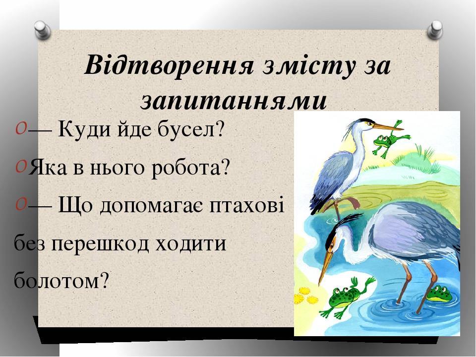 Відтворення змісту за запитаннями — Куди йде бусел? Яка в нього робота? — Що допомагає птахові без перешкод ходити болотом?