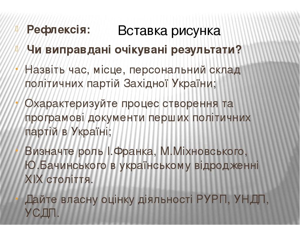 Рефлексія: Чи виправдані очікувані результати? Назвіть час, місце, персональний склад політичних партій Західної України; Охарактеризуйте процес ст...