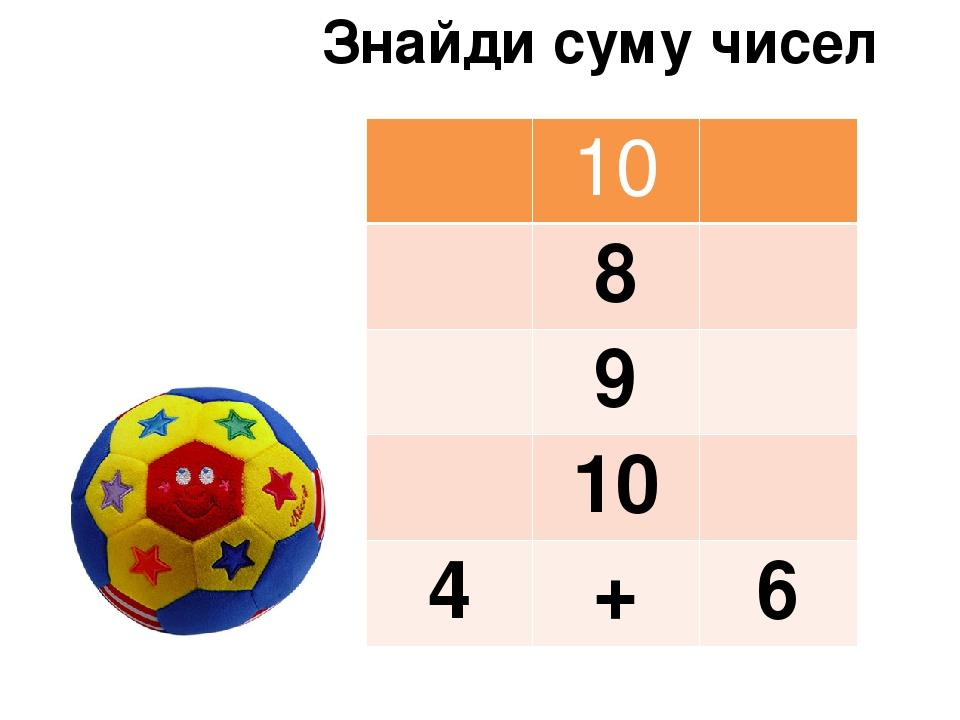 Знайди суму чисел 10 8 9 10 4 + 6