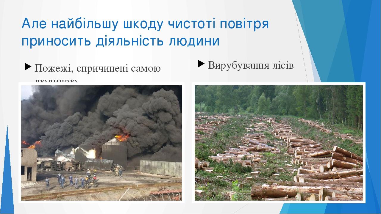 Але найбільшу шкоду чистоті повітря приносить діяльність людини Пожежі, спричинені самою людиною Вирубування лісів