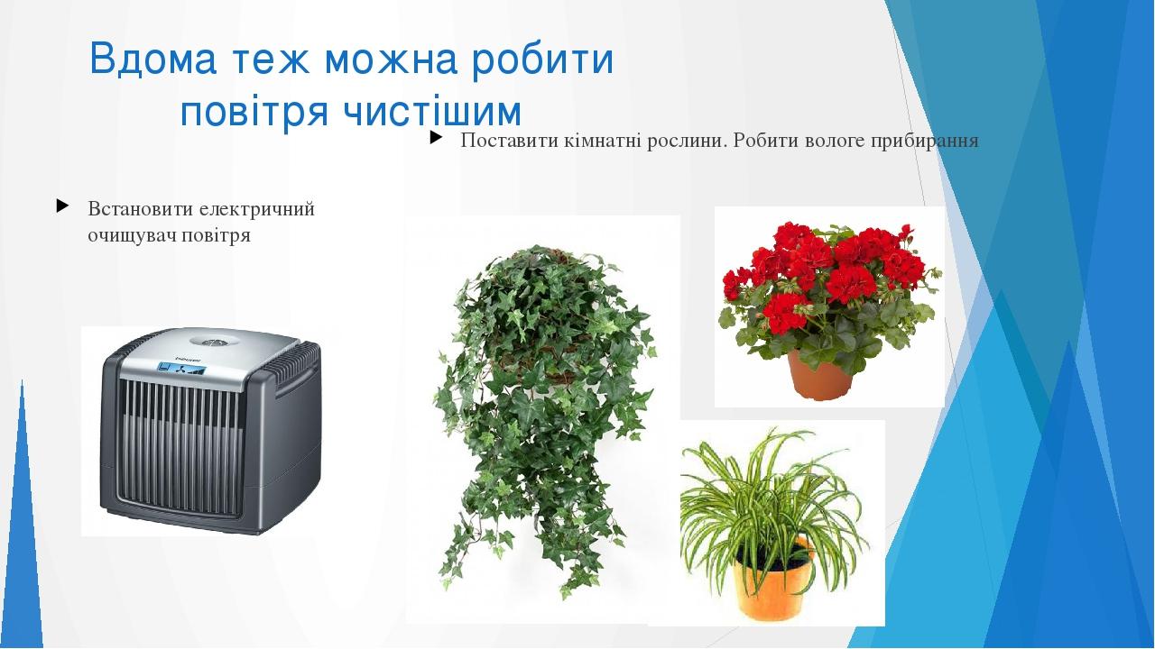 Вдома теж можна робити повітря чистішим Встановити електричний очищувач повітря Поставити кімнатні рослини. Робити вологе прибирання