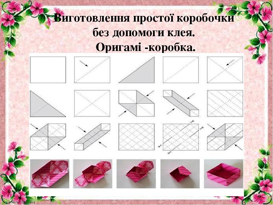 Виготовлення простої коробочки без допомоги клея. Оригамі -коробка.