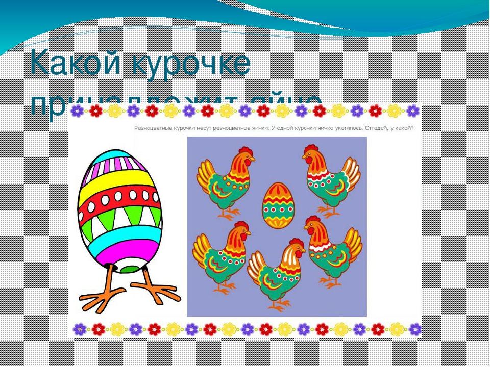 Какой курочке принадлежит яйцо.