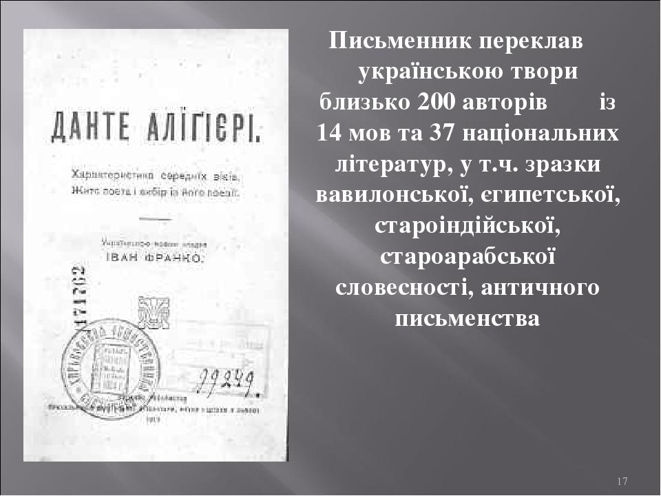 Письменник переклав українською твори близько 200 авторів із 14 мов та 37 національних літератур, у т.ч. зразки вавилонської, єгипетської, староінд...