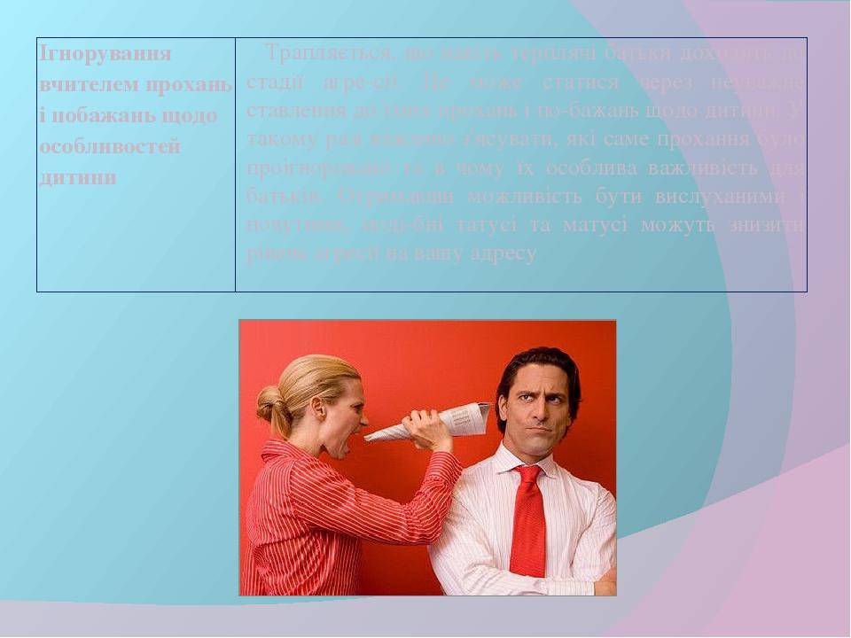 Ігнорування вчителем прохань і побажань щодо особливостей дитини Трапляється, що навіть терплячі батьки доходять до стадії агресії. Це може статис...