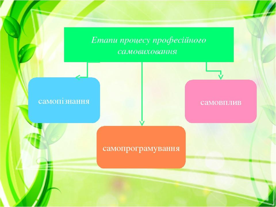 Етапи процесу професійного самовиховання самопізнання самопрограмування самовплив