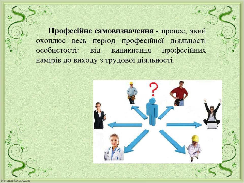 Професійне самовизначення - процес, який охоплює весь період професійної діяльності особистості: від виникнення професійних намірів до виходу з тру...