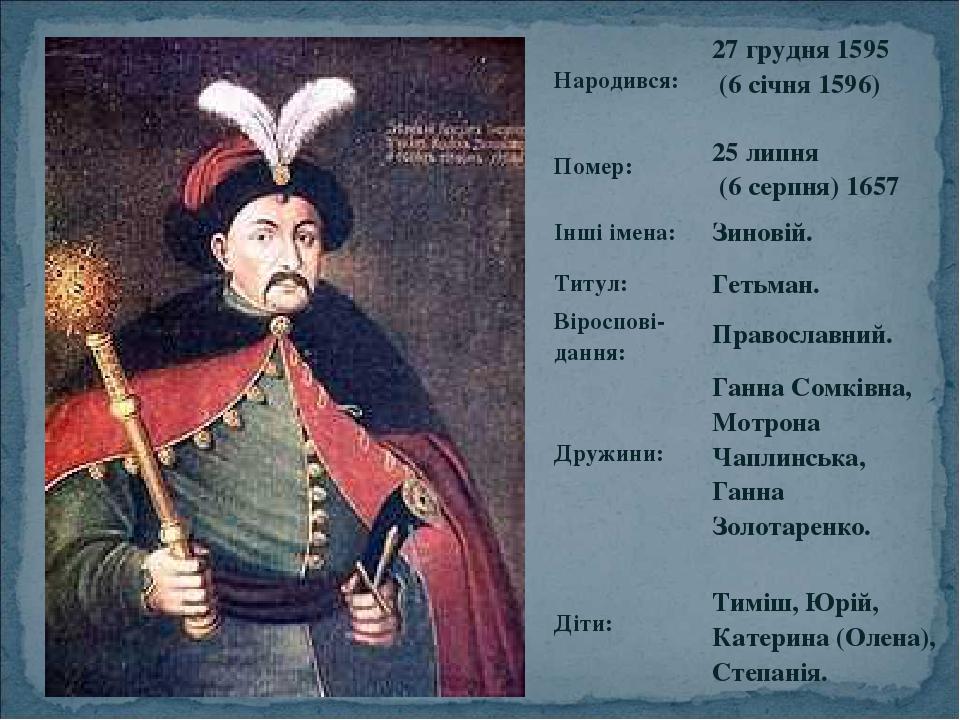 Народився: 27 грудня 1595 (6 січня 1596) Помер: 25 липня (6 серпня) 1657 Інші імена: Зиновій. Титул: Гетьман. Віроспові-дання: Православний. Дружин...