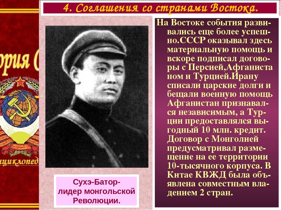 На Востоке события разви-вались еще более успеш-но.СССР оказывал здесь материальную помощь и вскоре подписал догово-ры с Персией,Афганиста ном и Ту...