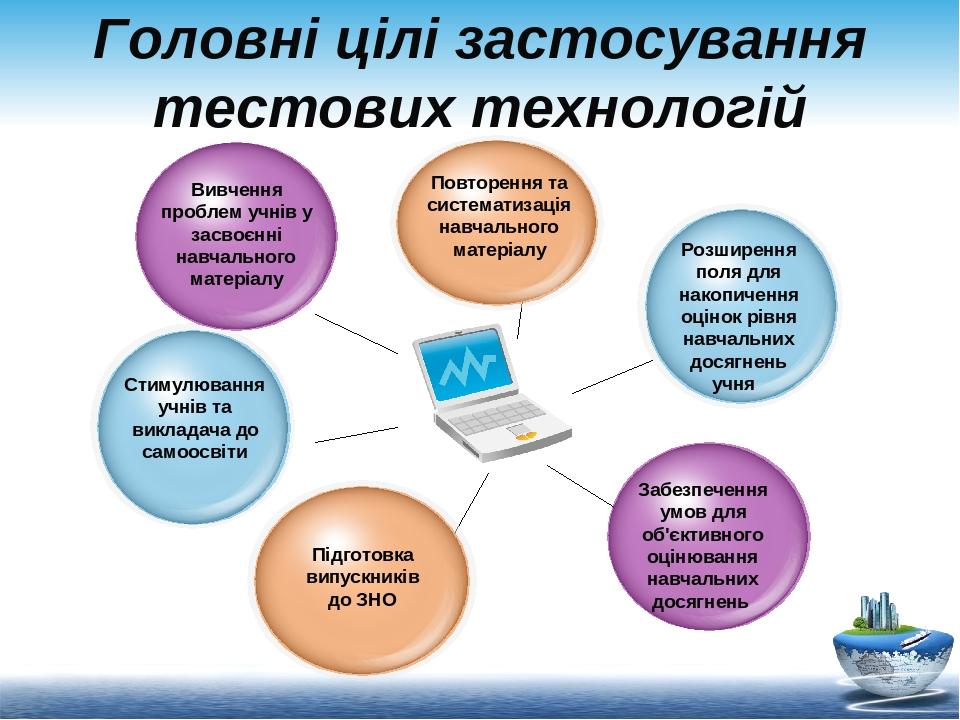 Головні цілі застосування тестових технологій