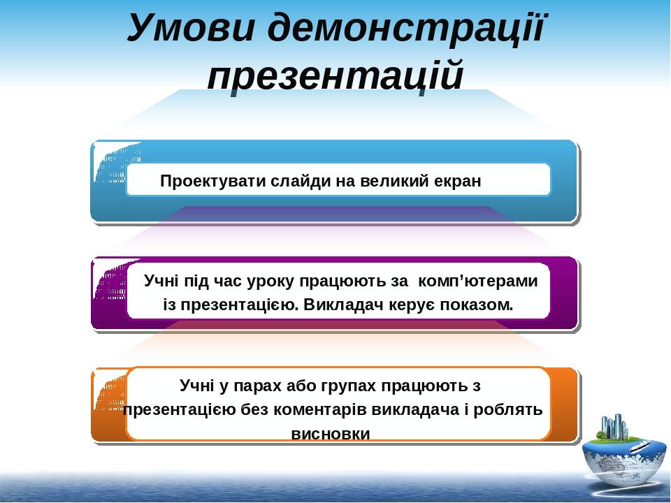 Умови демонстрації презентацій Проектувати слайди на великий екран Учні під час уроку працюють за комп'ютерами із презентацією. Викладач керує пока...