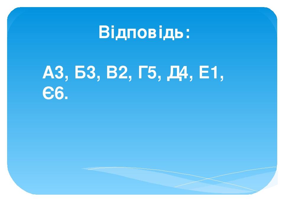 Відповідь: А3, Б3, В2, Г5, Д4, Е1, Є6.