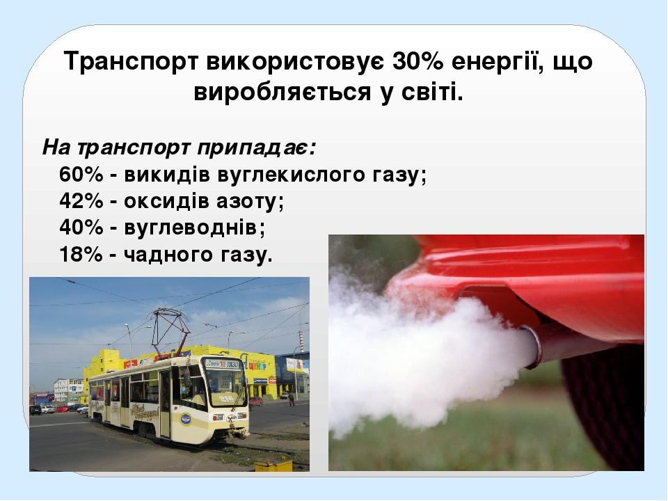 Транспорт використовує 30% енергії, що виробляється у світі. На транспорт припадає: 60% - викидів вуглекислого газу; 42% - оксидів азоту; 40% - вуг...