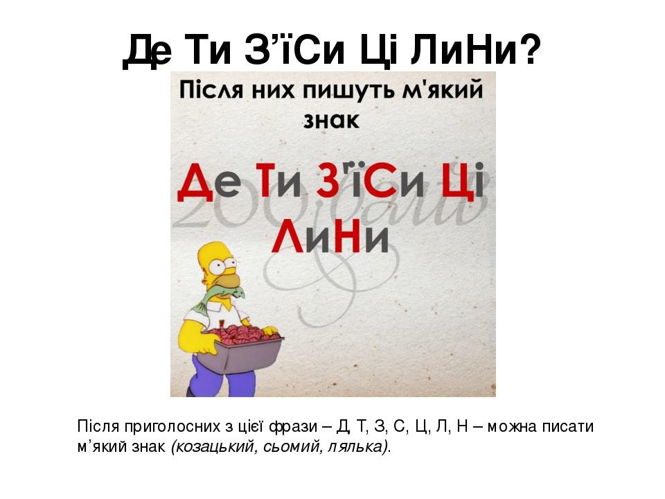 Де Ти З'їСи Ці ЛиНи? Після приголосних з цієї фрази – Д, Т, З, С, Ц, Л, Н – можна писати м'який знак(козацький, сьомий, лялька).