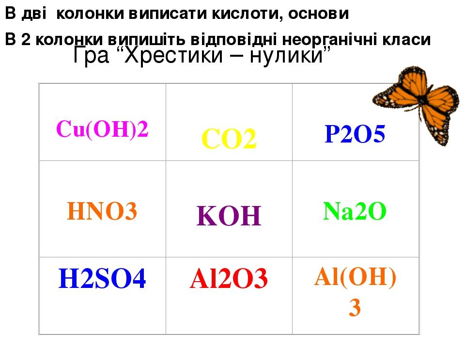 """Гра """"Хрестики – нулики"""" В дві колонки виписати кислоти, основи В 2 колонки випишіть відповідні неорганічні класи"""