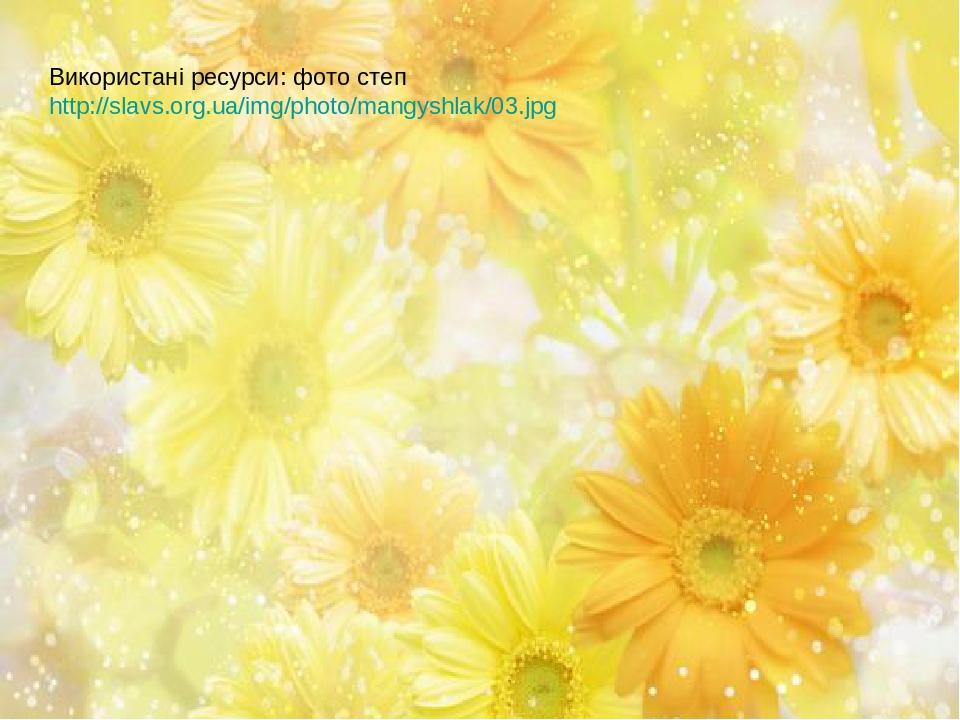 Використані ресурси: фото степ http://slavs.org.ua/img/photo/mangyshlak/03.jpg