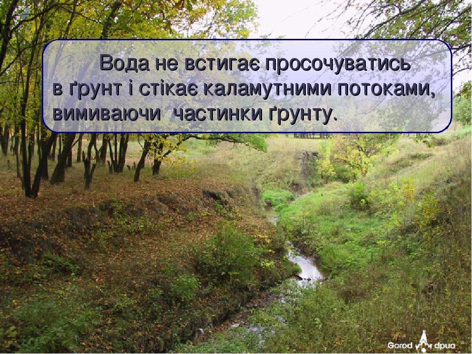 Вода не встигає просочуватись в ґрунт і стікає каламутними потоками, вимиваючи частинки ґрунту.