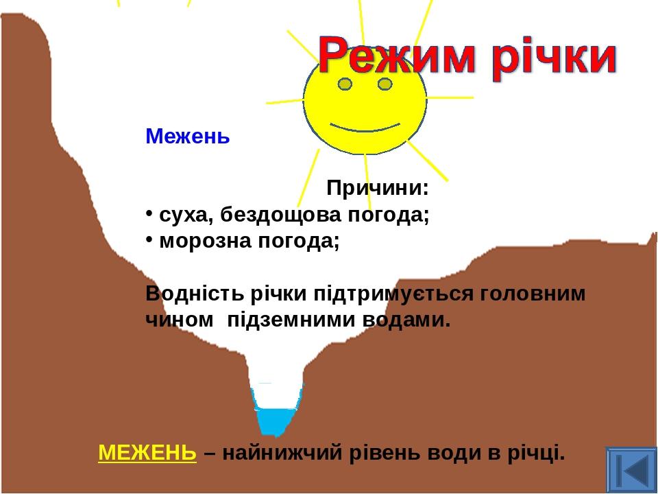 Межень Причини: суха, бездощова погода; морозна погода; Водність річки підтримується головним чином підземними водами. МЕЖЕНЬ – найнижчий рівень во...