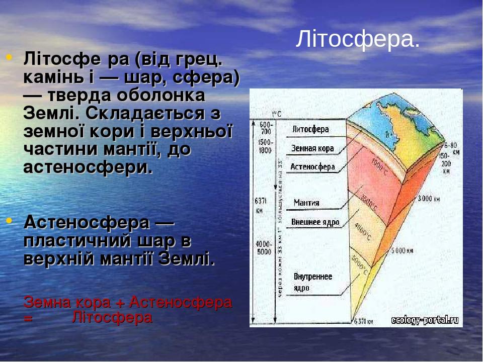 Літосфе́ра (від грец. камінь і — шар, сфера) — тверда оболонка Землі. Складається з земної кори і верхньої частини мантії, до астеносфери. Астеносф...